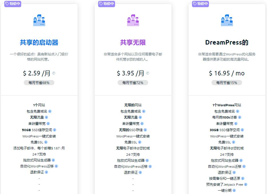 DreamHost虚拟主机特价优惠